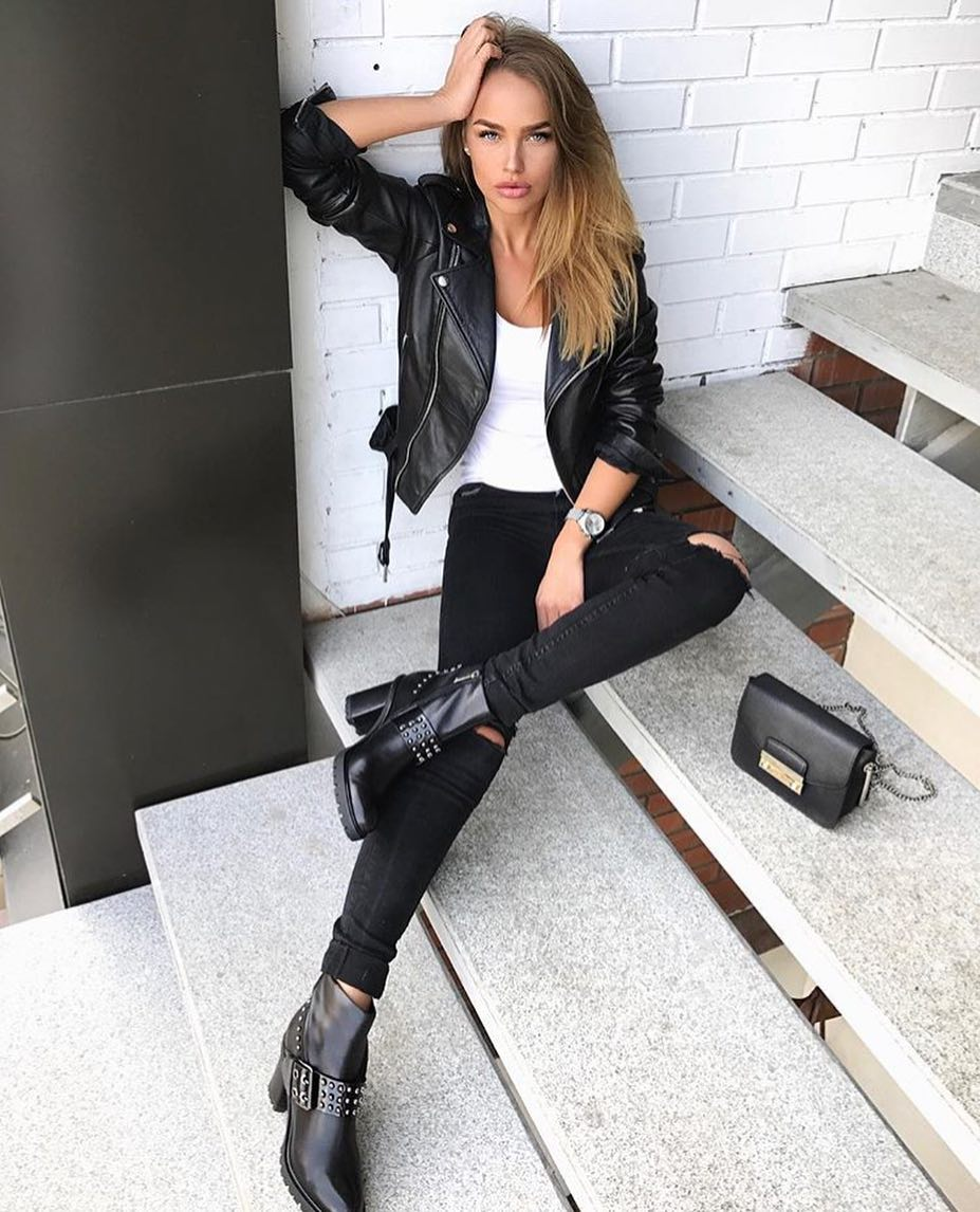 Black And White Grunge Look: Leather Jacket And Black Jeans 2020
