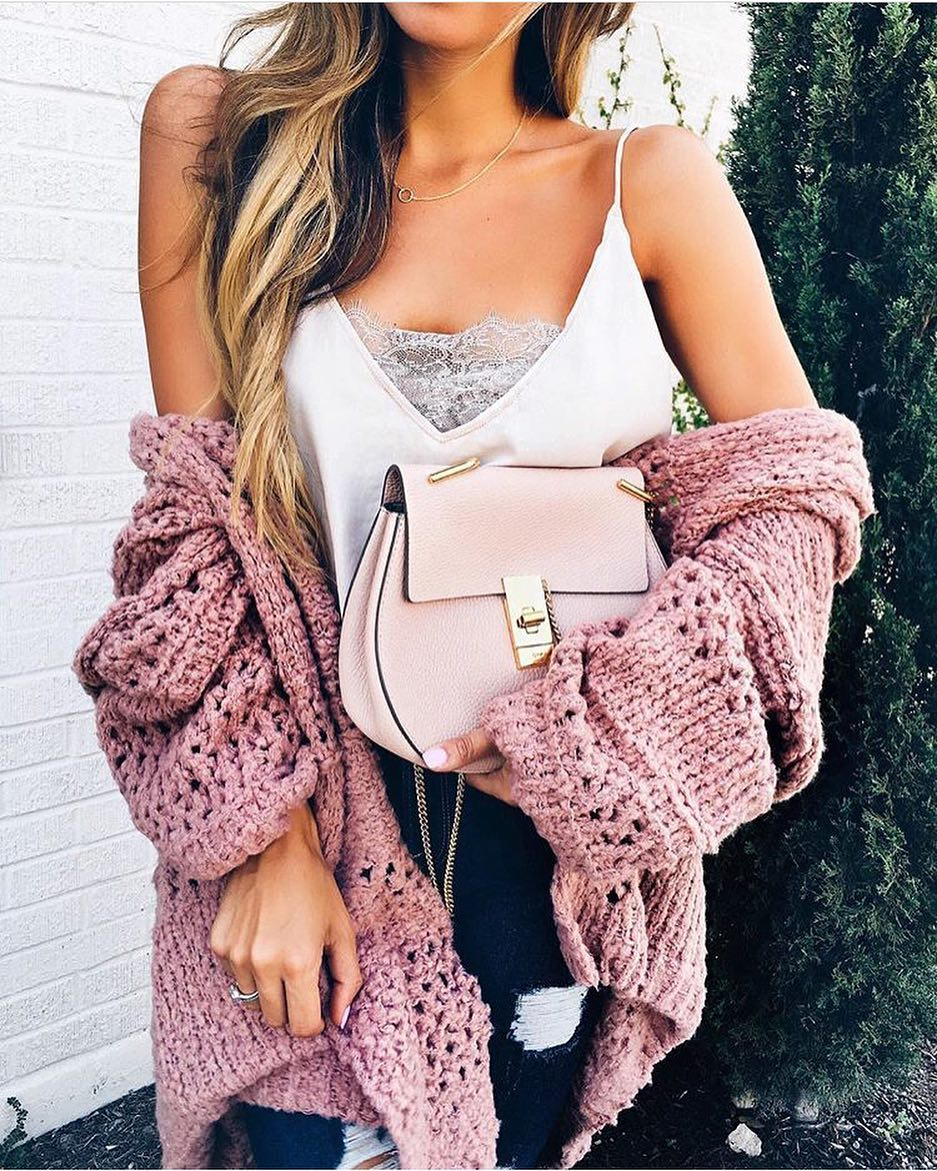 Pink Chunky Knit Cardigan And White Slip Tank Top With Dark Blue Skinnies 2020