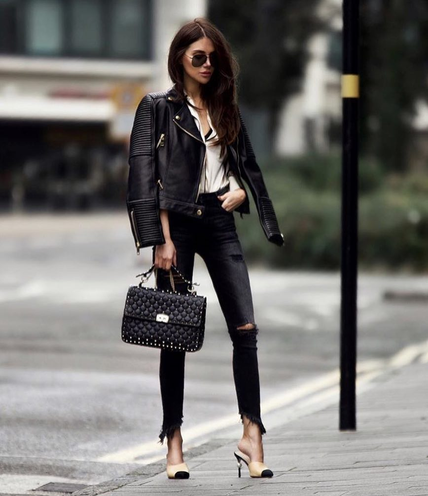Edgy Smart Casual Outfit For Spring: Leather Jacket And Skinny Jeans 2019