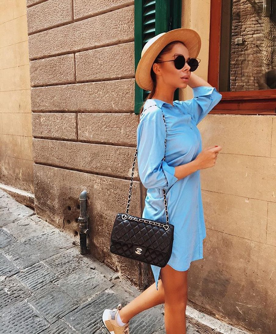 Blue Shirtdress And Cream Brown Brim Hat For Summer Vacation 2020