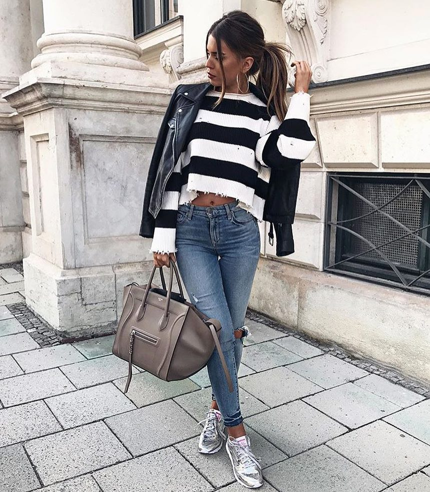 Fall Basics: Black Leather Jacket With Black-White Striped Sweater And Jeans 2019