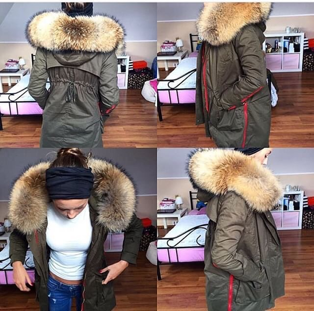 Faux Fur Parka In Khaki Green For Young Ladies 2019