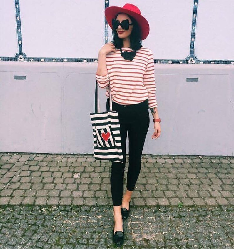 Parisian Chic OOTD: Striped Top, Black Pants And Loafers 2019