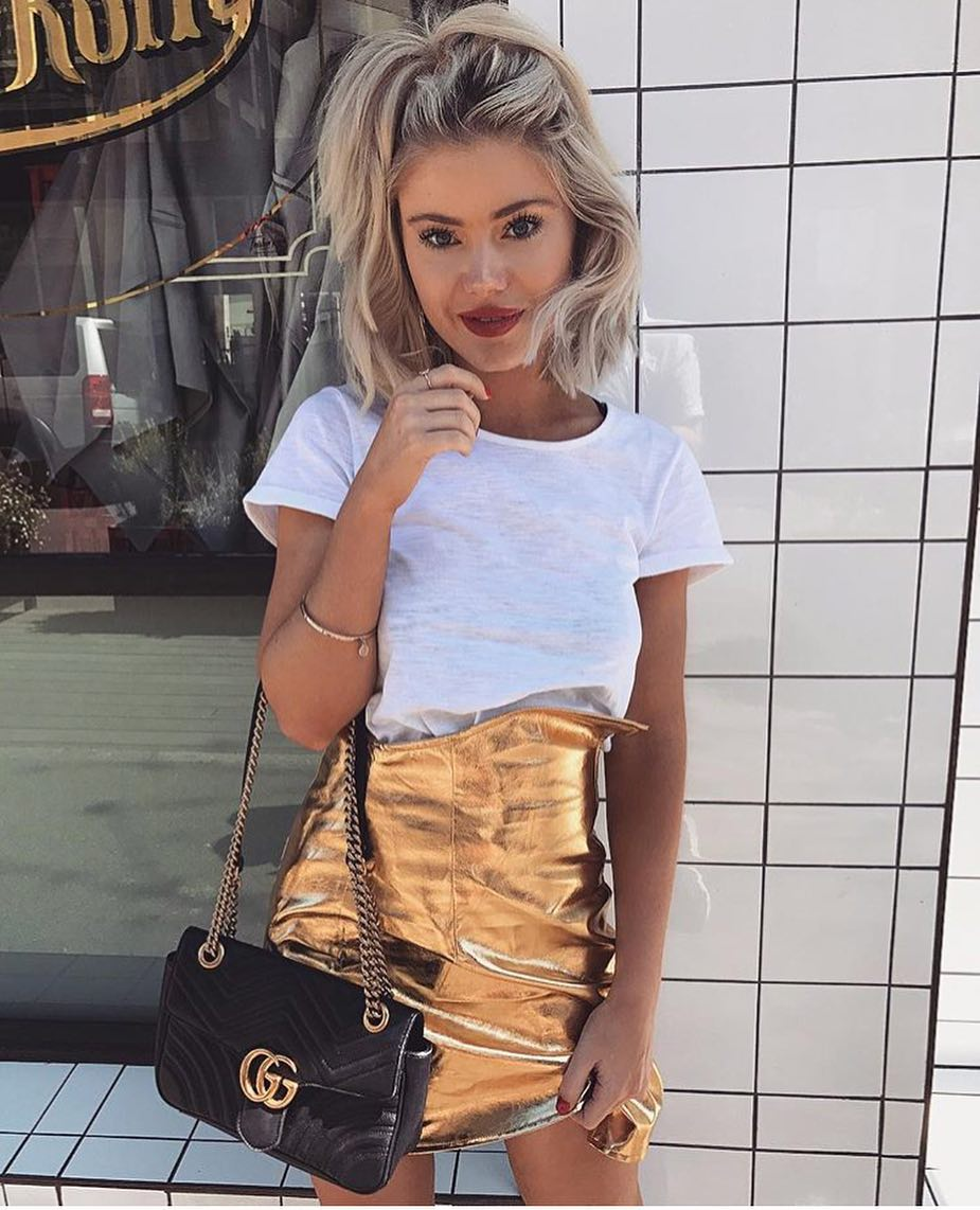 High Waist Gold Metallic Skirt And White T-Shirt For Summer 2021