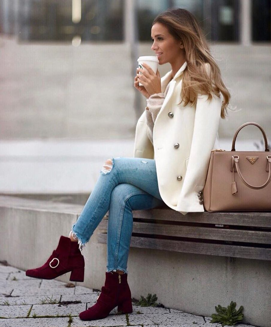 White Coat And Maroon Ankle Boots For Spring 2019
