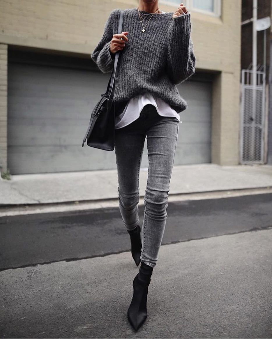 Grey Monochrome Day Off Look For Fall 2020