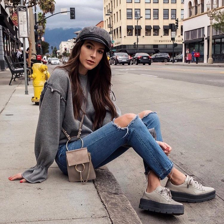 Grey Oversized Sweater With Knee Ripped Jeans And Platform Kicks For Fall 2020