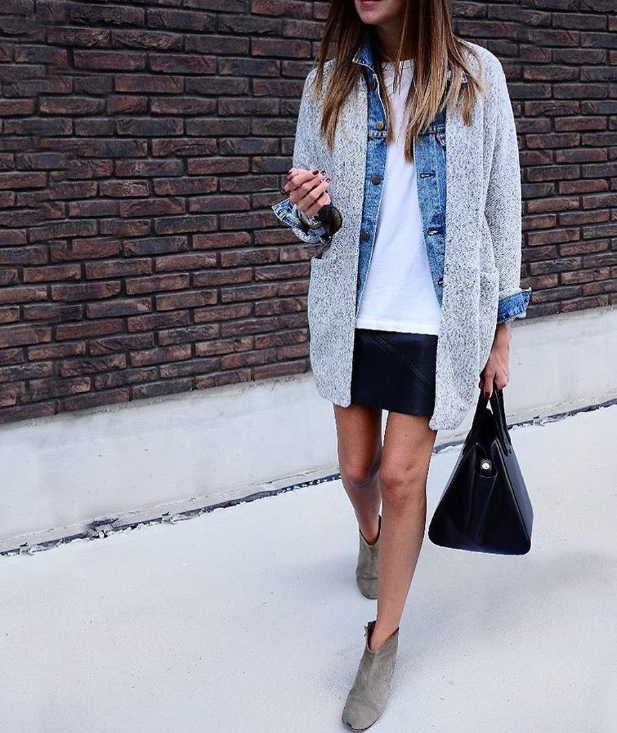 Easy Layering Outfit For Fall: Cardigan And Denim Jacket With Black Leather Skirt 2021