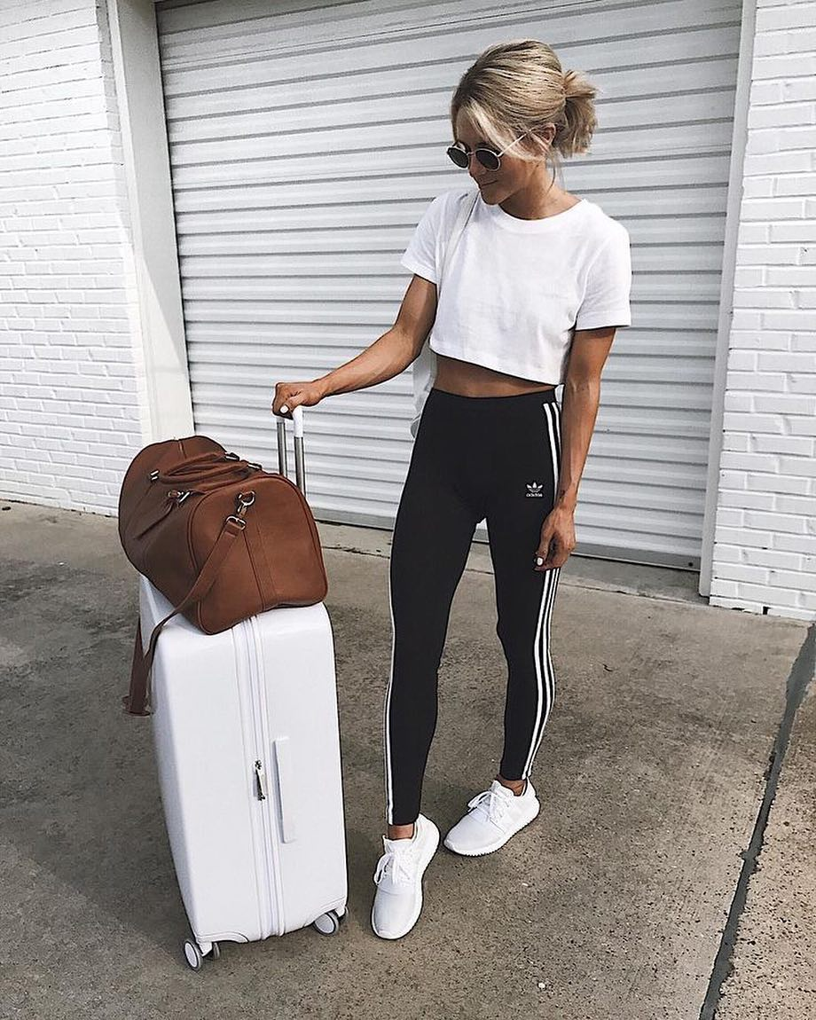 White Crop Top Looks Awesome With Black Joggers And White Kicks 2019