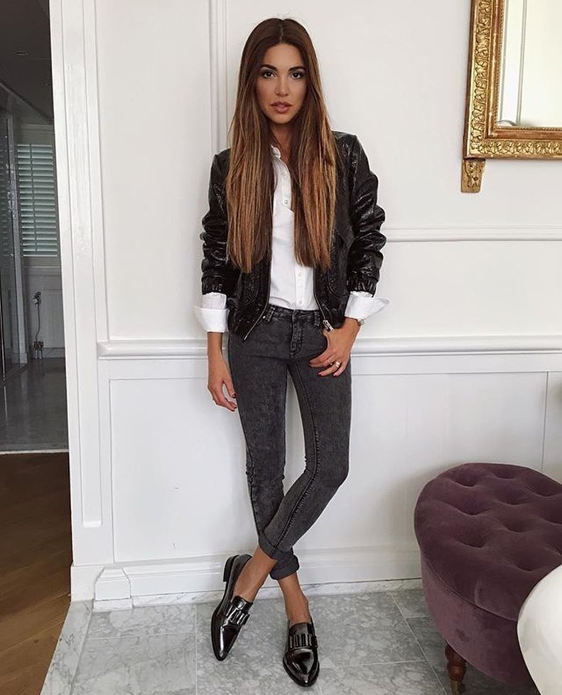 Shiny Black Leather Jacket And Skinny Jeans In Grey With Dark Silver Loafers 2019