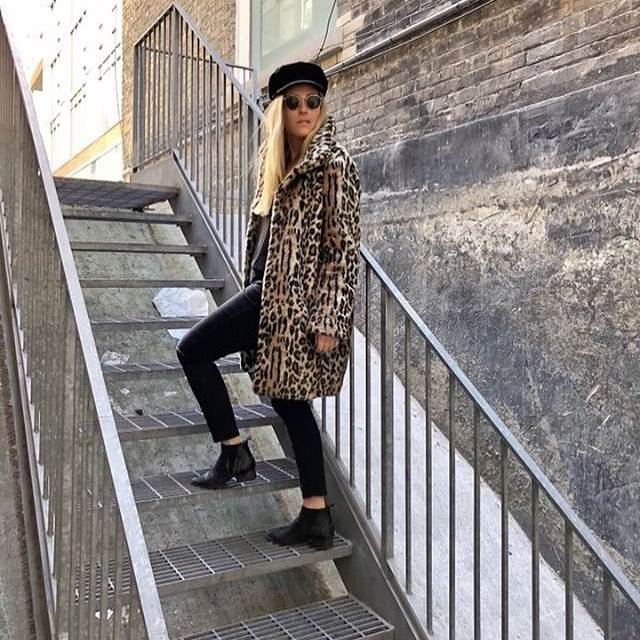Leopard Coat With Black Leather Pants And Ankle Boots For Fall 2019