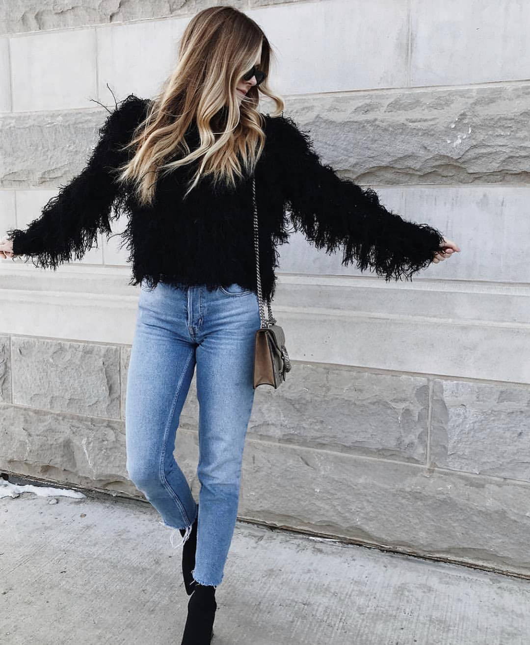 Tassel Jacket In Black With Wash Blue Jeans And Suede Ankle Boots 2019