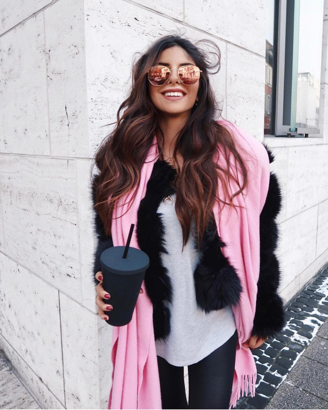 Black Fur Jacket With Pink Scarf And Mirrored Rounded Sunglasses 2019