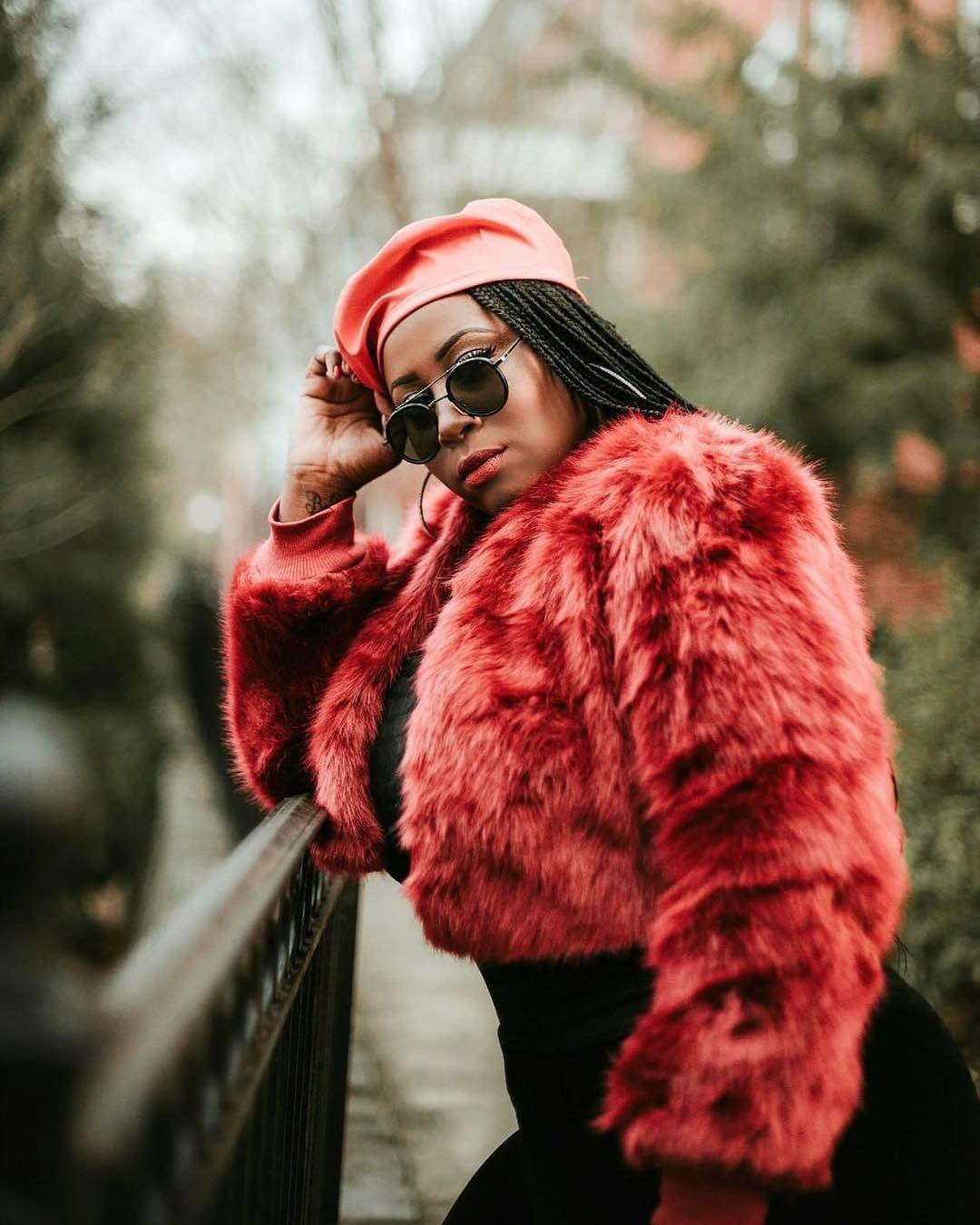 Crop Fur Jacket In Red With Red Beret For Fall 2021