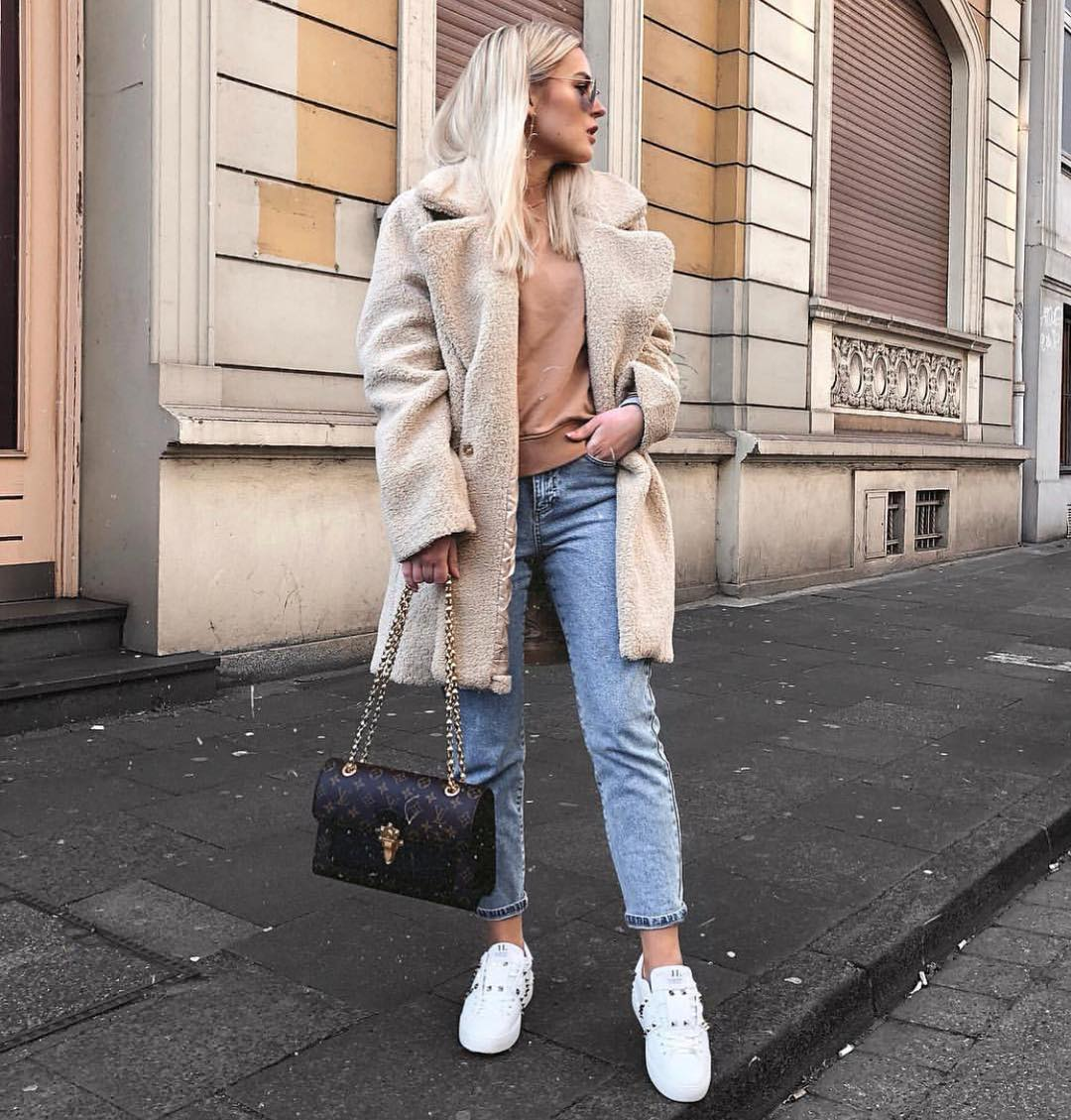 White Teddy Bear Coat With Wash Blue Jeans And White Chunky Sneakers 2019
