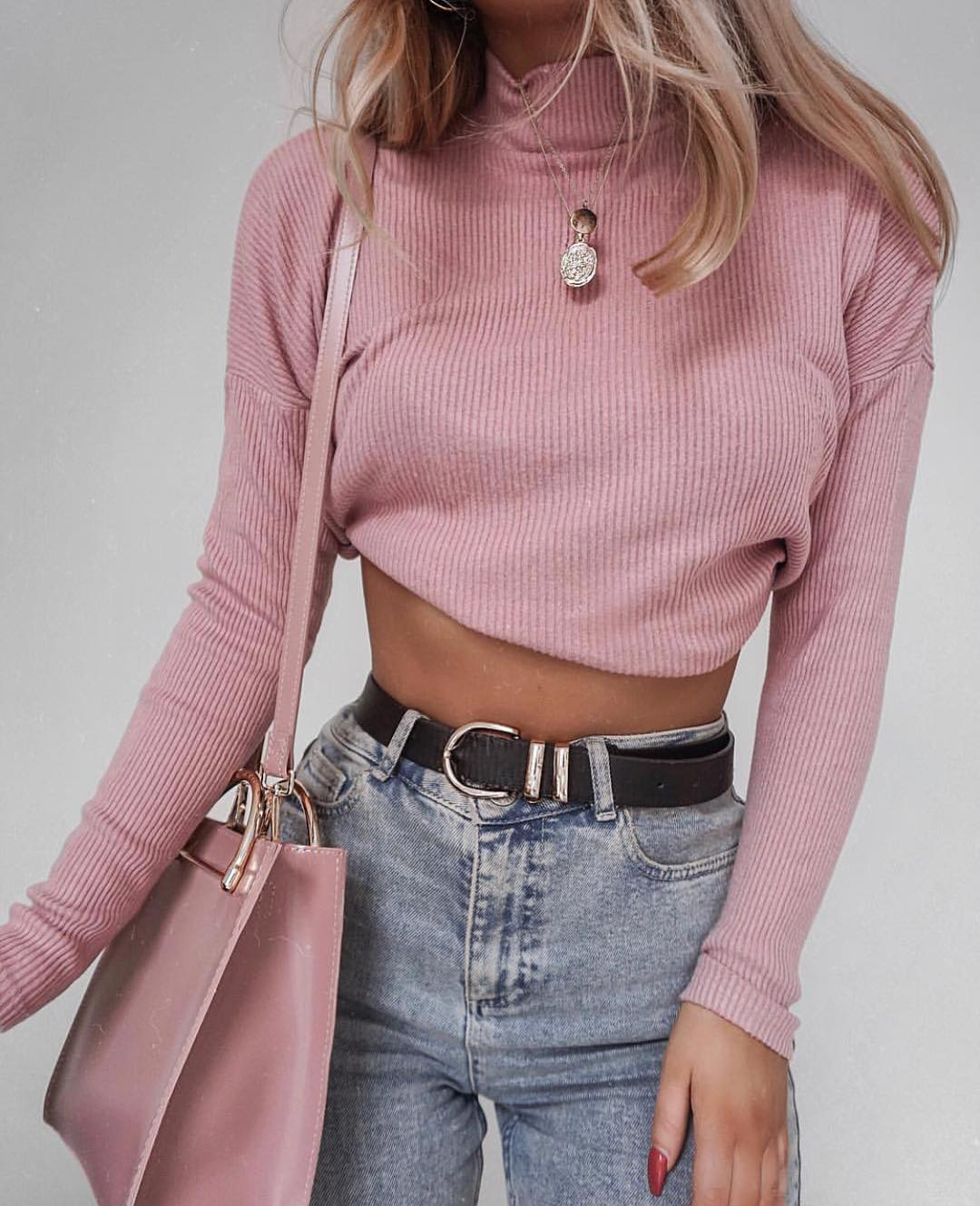 How To Wear Light Pink Slim Crop Sweater This Fall 2021