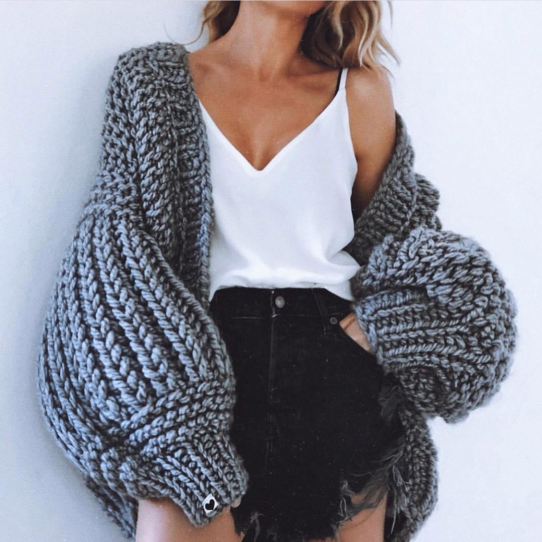 Oversized Grey Chunky Knit Cardigan With White SlipTop And Black Denim Skirt 2020