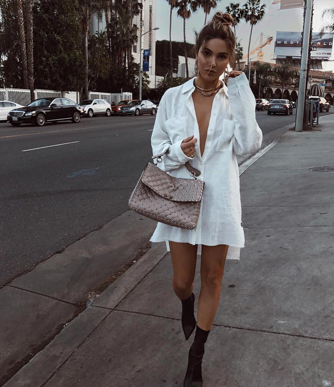 White ShirtDress And Black Sock Boots For Summer 2020