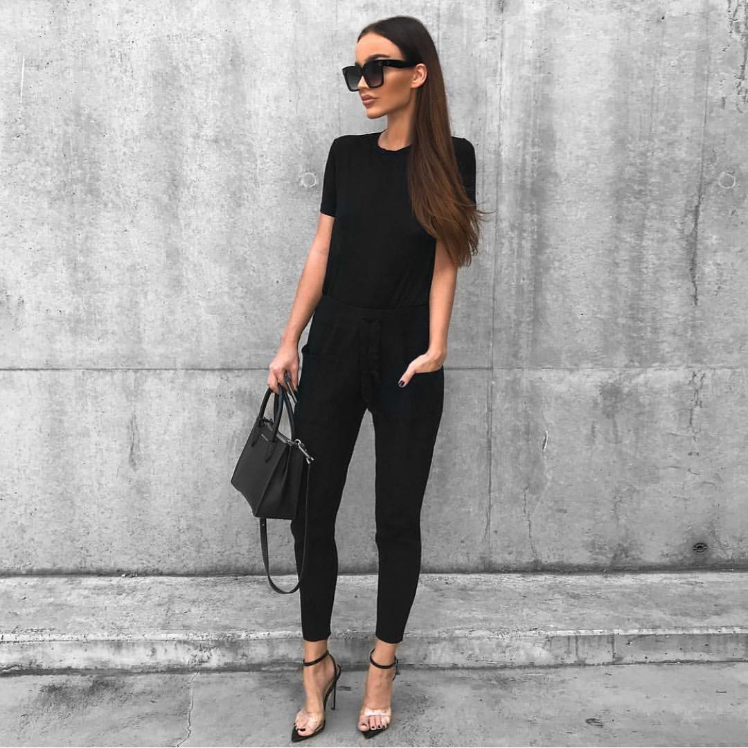 All In Black: T-shirt, Slim Pants And Ankle Strap Heeled Sandals For Summer 2020