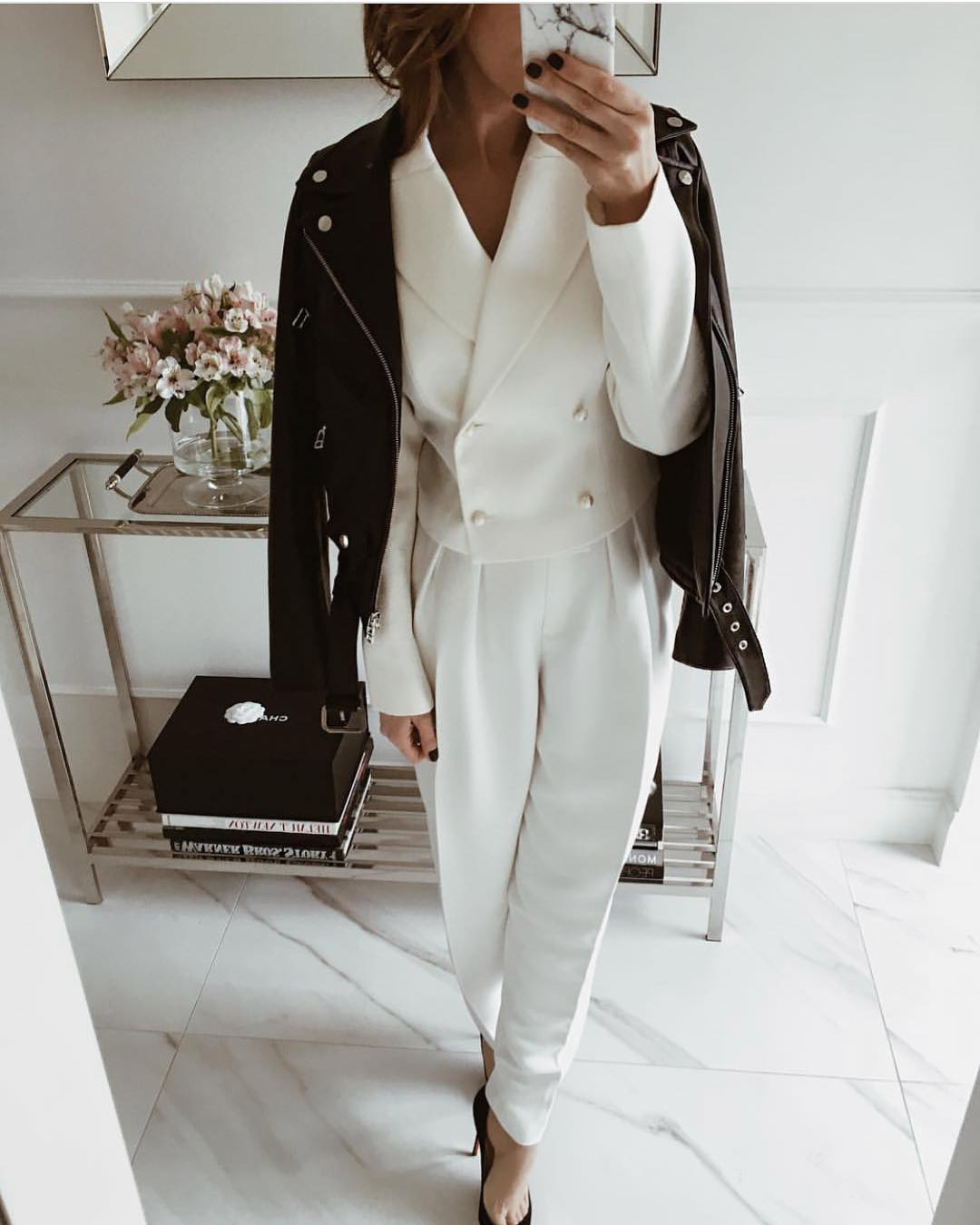 Can I Wear White Pantsuit With A Black Leather Jacket This Spring 2021
