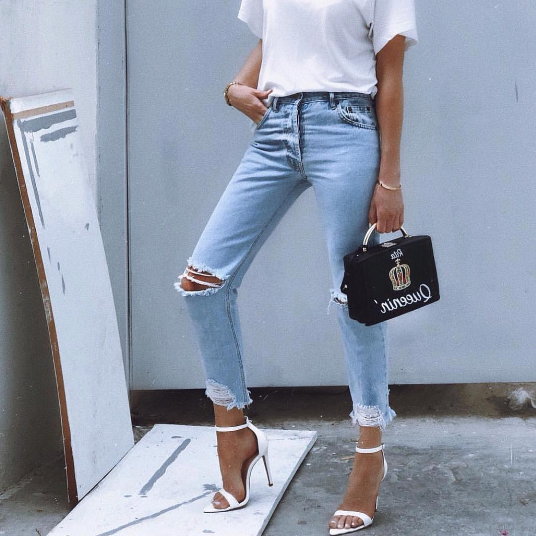 Summer Must Haves: White Tee, Wash Blue Jeans And Ankle Strap Heeled Sandals In White 2020