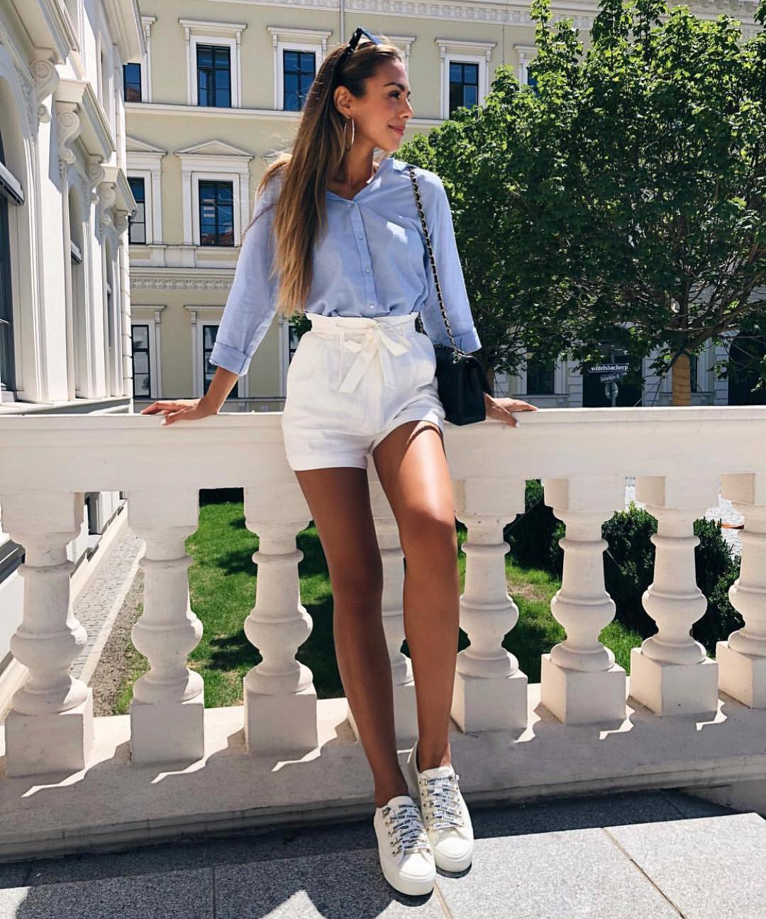 Summer Essentials: Blue Shirt With Gathered White Shorts And White Kicks 2019