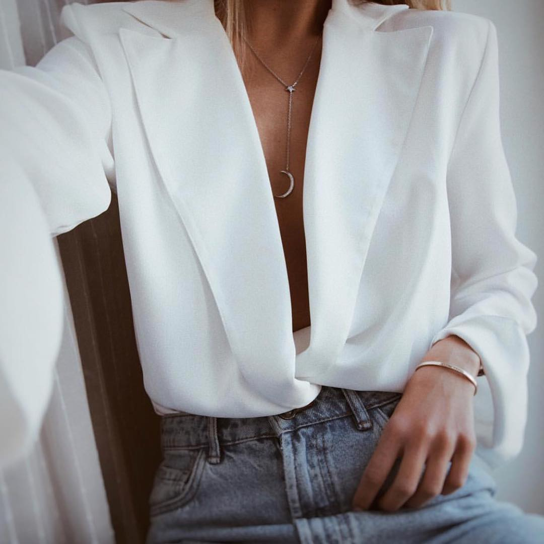 White Wrap Blazer Blouse And Mom Jeans For Spring 2020