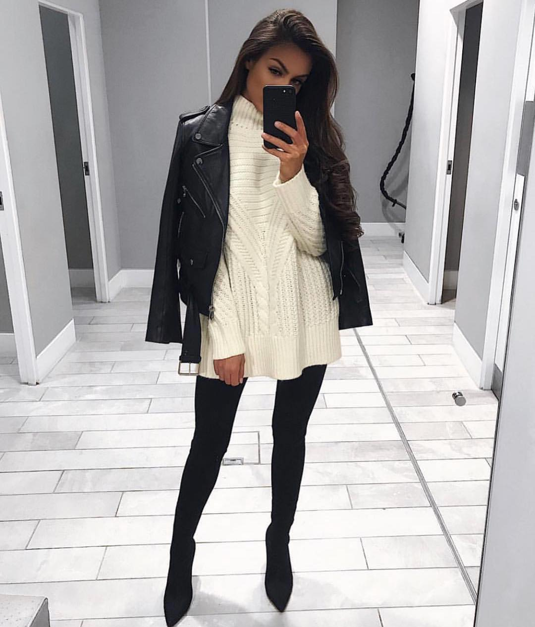 White Knitted Sweater Dress And Black Leather Jacket For Winter 2021