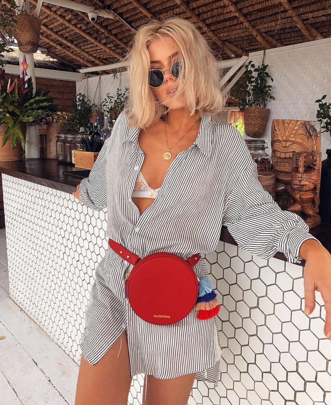 Black-White Pinstripe Shirtdress For Summer Vacation 2021