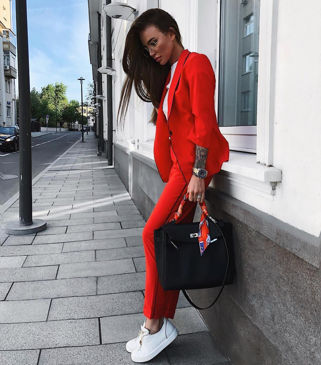 Can I Wear Red Pantsuit With White Sneakers This Spring 2020