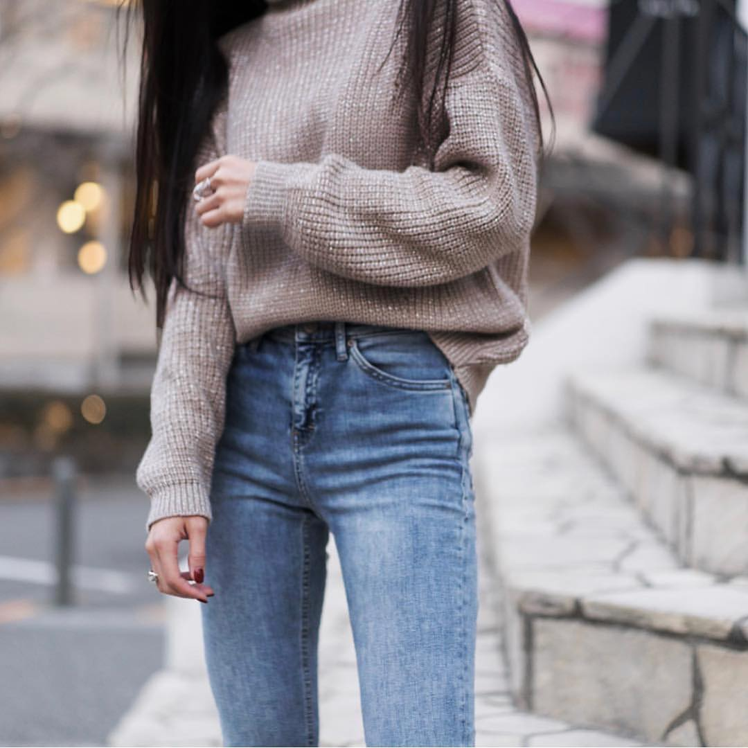 Light Grey Oversized Sweater For Autumn 2019