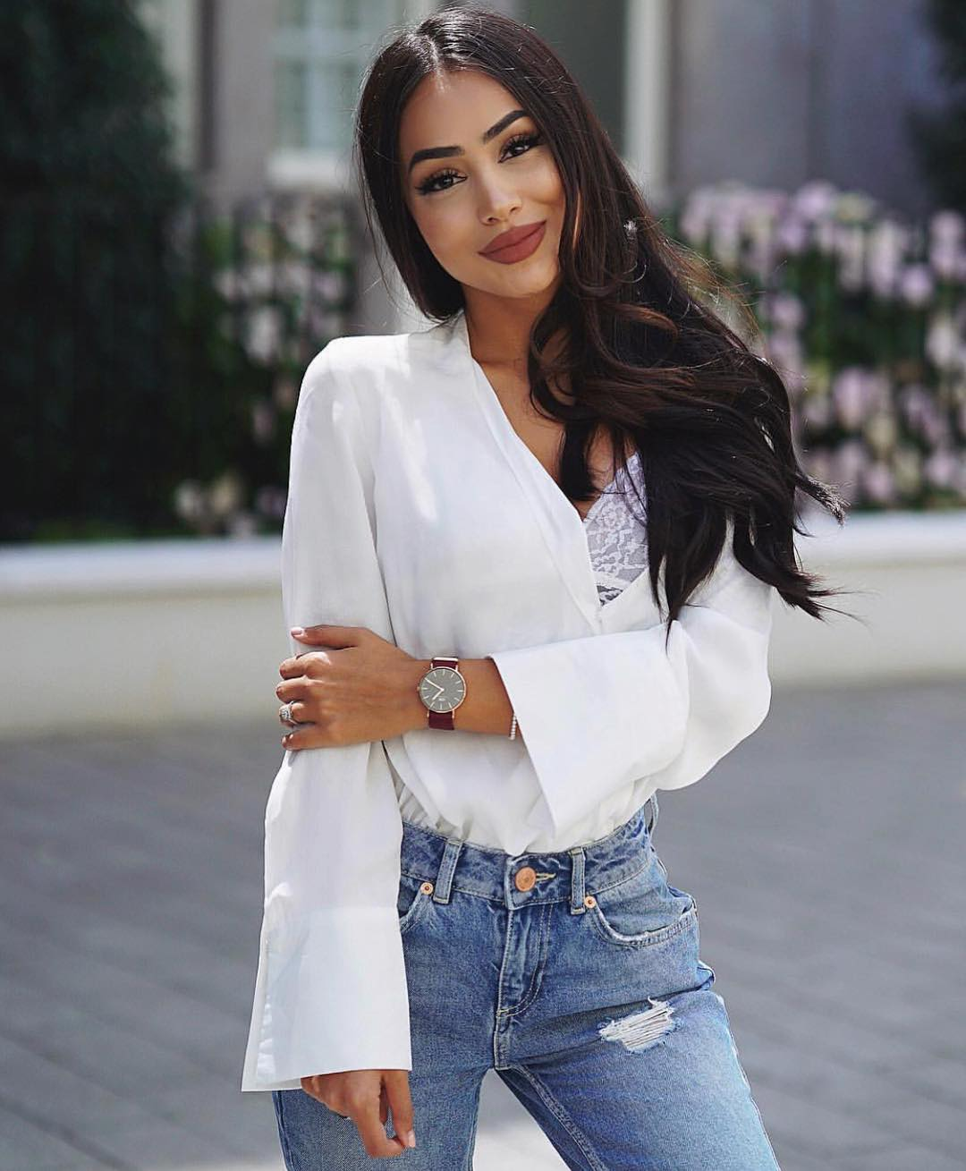 Bell Sleeve Shirt In White And High Waisted Jeans For Spring 2020