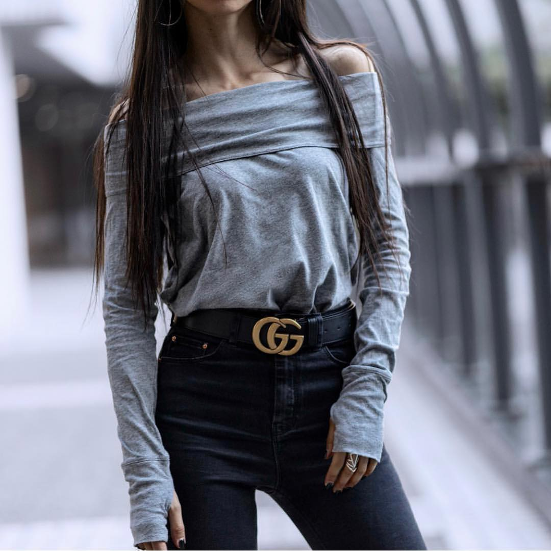 Off-Shoulder Grey Top And High Rise Black Skinny Jeans For Fall 2020