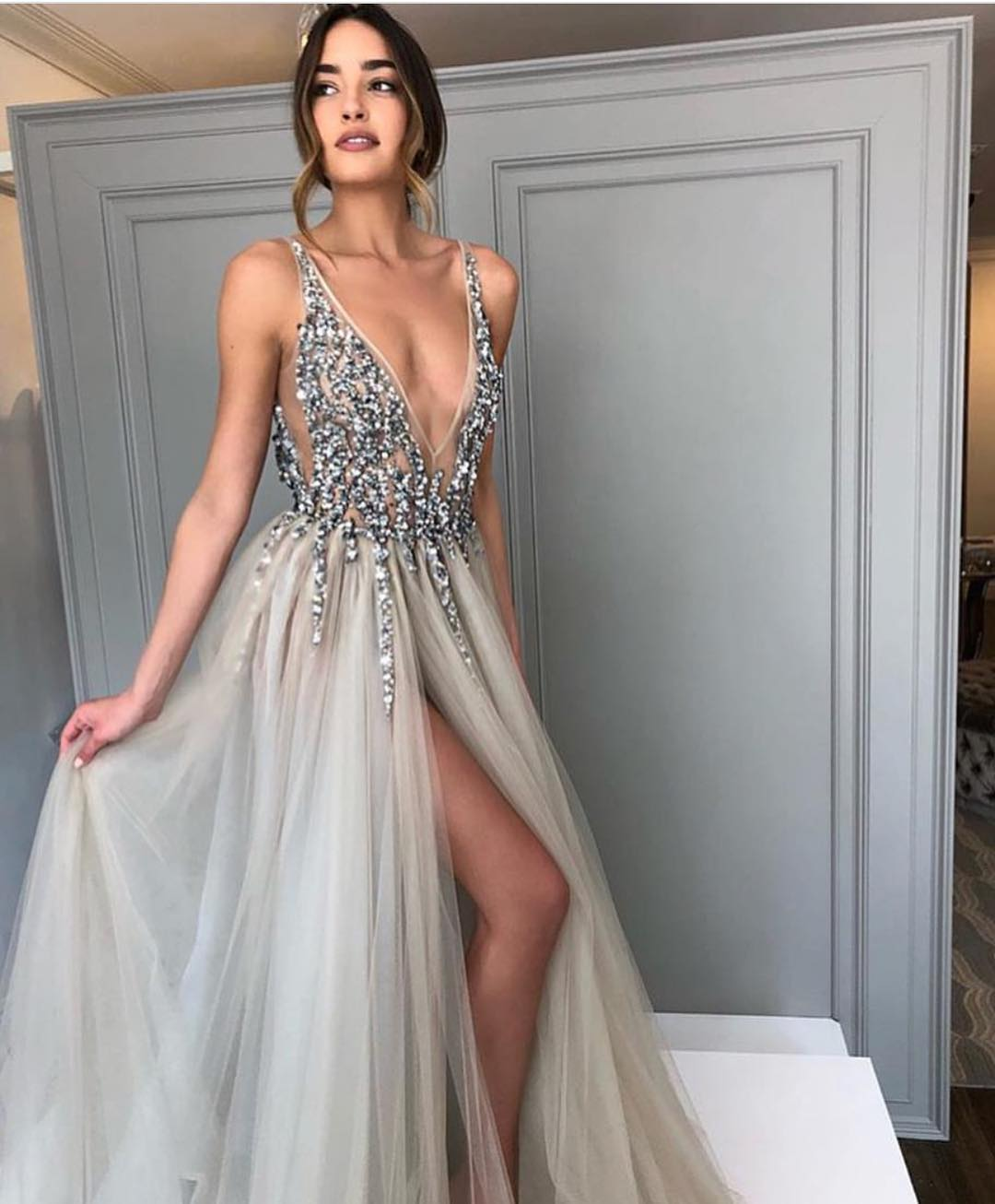 Maxi Dress With Tulle Skirt And Sequin Embroidered Top For Prom Night 2020
