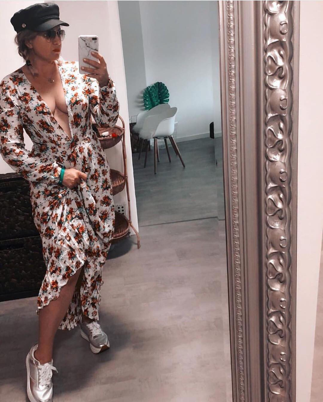 How To Wear White Floral Maxi Dress With Shiny Silver Sneakers This Autumn 2021