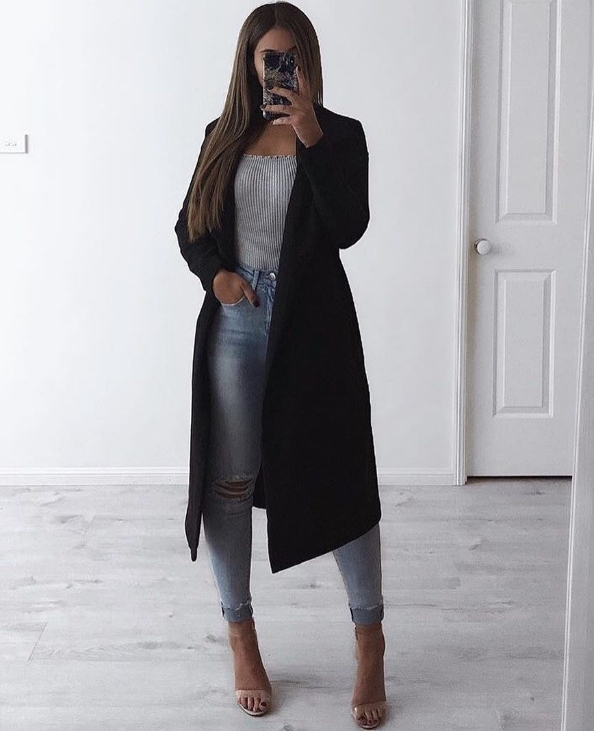 Long Coat In Black With Striped Bodysuit And Knee Ripped Skinny Jeans 2019